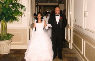 My dad and I at my debutante ball, preparing to enter the ballroom.